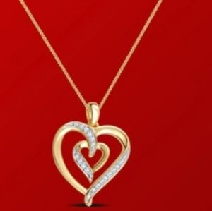 "Jewelry - New 1/10ct Diamond Heart Pendant 18"" Box Chain"